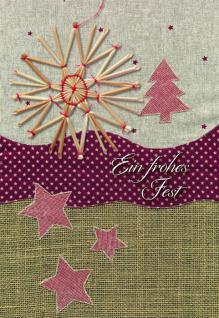 Weihnachtskarte mit Strohstern, Ein frohes Fest (5 Stck)