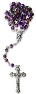 Glas-Rosenkranz violett bemalt 40 cm