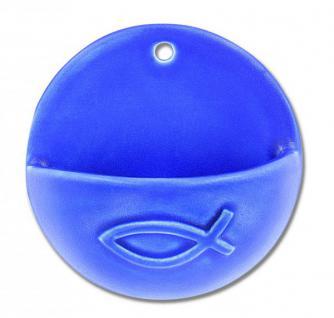 Weihwasserkessel Fisch Keramik blau glasiert