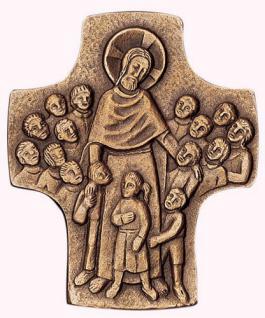 Wandkreuz Jesus der Kinderfreund 9 x 8 cm Bronze