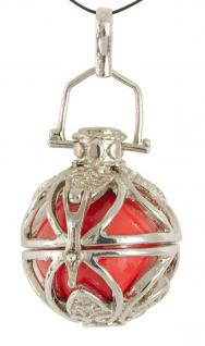 Engelshelfer rhodiniert mit roter Klangkugel 2, 5 x 2 cm
