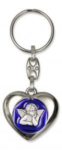 Schlüsselanhänger Schutzengel Herz, blau 9 cm