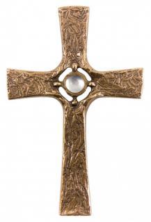 Wandkreuz mit weißem Stein 21 cm Bronze
