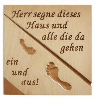Haussegen Fussabdruck Buchenholz geschnitzt 14 x 14 cm