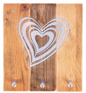 Schlüsselbrett mit Edelstahl-Herz 22 x 20 cm