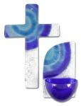 Glaskreuz + Weihkessel Set blau/weiß Sonne blau