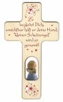 Kinderkreuz Geschnitzter Engel Holz, blau 20 cm