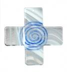 Wandkreuz Spirale weiss-blau-klar Glas 18 cm
