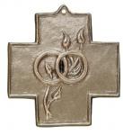 Wandkreuz Ringe zur Vermählung 9 x 9 cm Bronze
