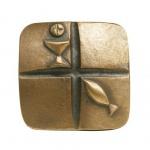 Kommunionplakette Kelch und Fisch 7 cm Bronze