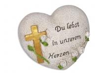 Herz mit Kreuz Du lebst in unserem Herzen 12 cm
