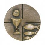 Kommunionplakette Kelch und Fisch 7 x 7 cm
