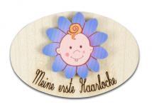Holzdose Meine erste Haarlocke oval, blau 5, 5 cm