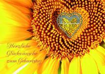 Geburtstagskarte mit Herz-Klammer, Herzliche.. (6 Stck)