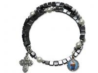 Armspange Hämatit Würfel mit Perlen und Anhänger 6cm