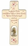 Kinderkreuz Geschnitzter Engel, Holz 20 cm