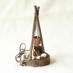 Lagerfeuer mit Kessel, handgefertigt, elektrifiziert 13 x 6 cm