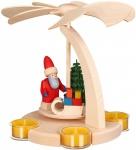 Weihnachtspyramide Bogen Weihnachtsmann Schlitten 18 cm