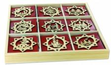 Holzdose mit 54 Sternanhängern, Weihnachtsdekoration