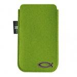 Handy-Tasche grün, christliches Fisch-Motiv 7, 5 x 12, 5 cm