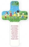 Kinderholzkreuz Dankgebet Buche weiß 18 cm