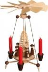 Weihnachtspyramide Nadelpyramide mit Kurrendefiguren 25 cm