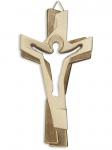 Wandkreuz Jesus Christus Holz, gebeizt 15 cm