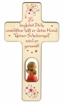 Kinderkreuz Schutzengel rot, geschnitzt Holz 20 cm