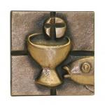 Kommunionplakette Kelch und Hostie 7 cm Bronze