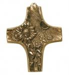 Taufgeschenk Kreuz Sonne und Blumen 10 cm Wandkreuz