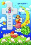 Geburtskarte mit Holzkreuz, Engel zur Geburt (1 Stck)