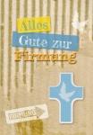 Glückwunschkarte Holzkreuz Alles Gute zur Firmung (3 St)