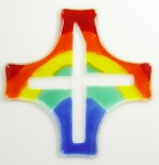 Glaskreuz Kreuz Regenbogenfarben ca.15 x 15 cm