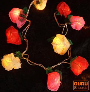 Blüten Lichterkette 20 Stk. rose rot-weiß-pink