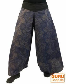 Palazzohose Hosenrock Schlaghose Sommerhose Hippie Goa Hose -blau