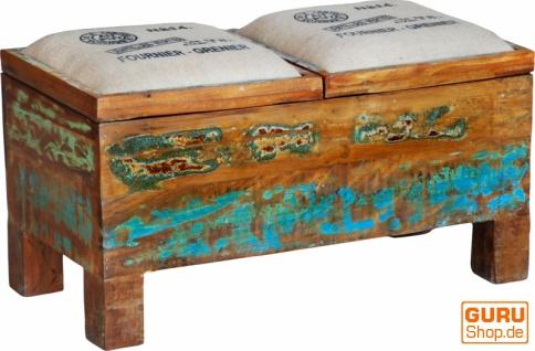 Doppel Hocker, Sitzbank mit Klappdeckel Vintage-Design