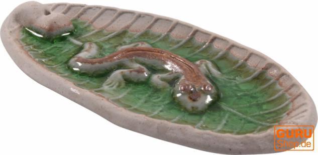 Keramik Räucherstäbchenhalter `Gecko`
