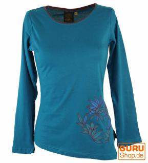 Langarmshirt Boho-chic, besticktes Zipfelshirt, blau