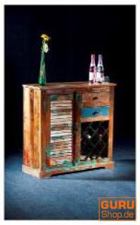 Vintage Kommode, Küchenschrank mit Weinregal, aus Recyclingholz