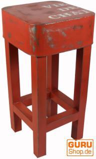 Barhocker, Beistelltisch aus lackiertem Metall, orange
