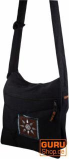 Schultertasche; Hippie Tasche, Goa Tasche schwarz