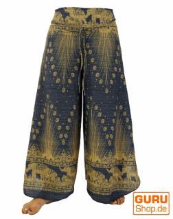 Palazzohose Hosenrock Schlaghose Sommerhose Hippie Goa Hose blau