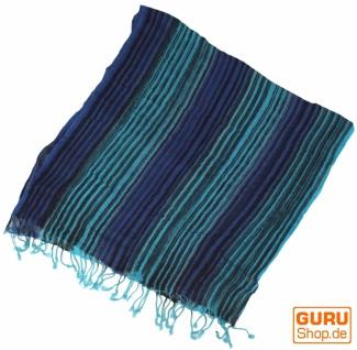 Feiner Baumwollschal mit Streifenmuster in Blautönen - Vorschau 2