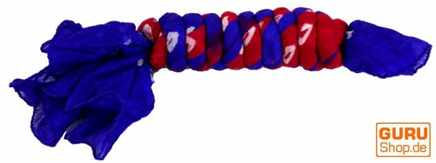 Batiktuch, Batikschal, Batiksarong - blau/dunkelrot - Vorschau 2