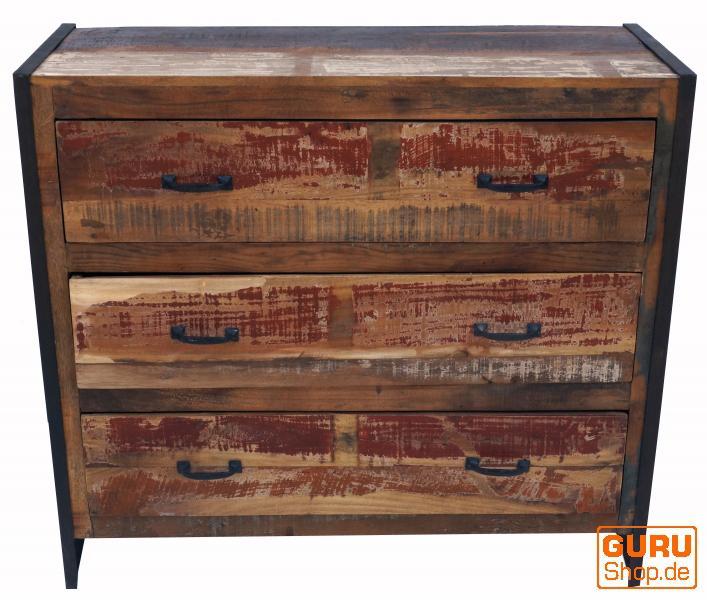 vintage kommode sideboard mit 3 schubladen aus metall und recyclingholz kaufen bei guru shop gmbh. Black Bedroom Furniture Sets. Home Design Ideas