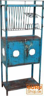 Altes metall Küchenregal antikblau (JH3-095)