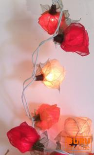 Blüten LED Lichterkette 20 Stk. Rose rot-weiß-orange