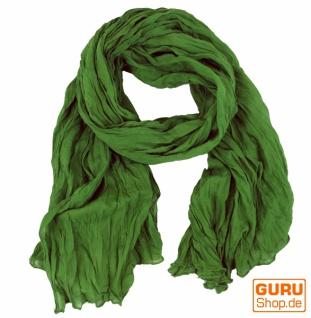 Indisches Baumwolltuch, Schal, Krinkelschal - grün - Vorschau 1