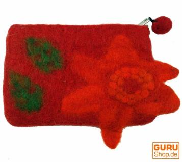Portemonnaie aus Filz, Filzportemonnaie flower - rot - Vorschau