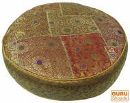 Orientalisches Rundes Patchwork Kissen 50 cm, Sitzkissen, Bodenkissen mit Baumwollfüllung